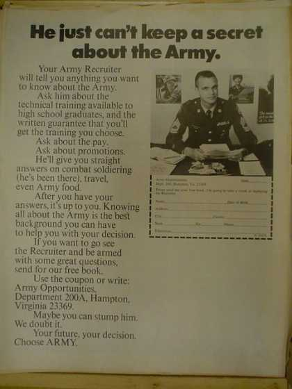 US Army Recruiter. He just can't keep a secret about the Army (1970)