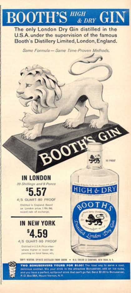 Booth's London Dry Gin Bottle (1964)