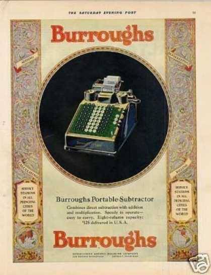 Burroughs Portable Subtractor Color (1928)