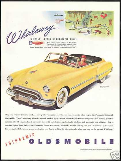 Oldsmobile Yellow Convertible Car (1948)