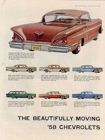 Chevrolet Cars 2 Page Ad 17 Models (1958)