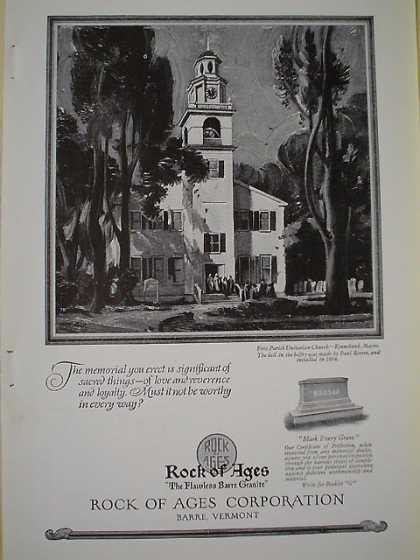 Rock of Ages Boutwell Milne Varnum 1st Parish Unitarian Kennebunk Maine First bell by Paul Revere installed 1804 (1926)