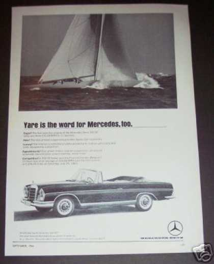 Original Mercedes Benz Car Sailboat Ad Yare (1964)