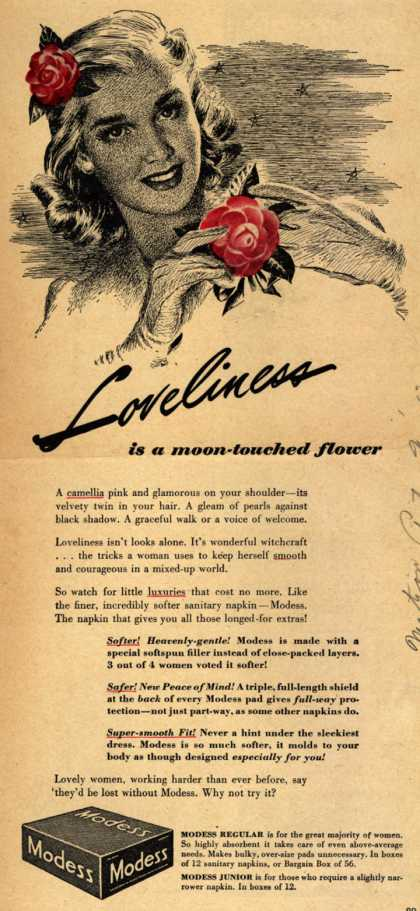 Modes's Sanitary Napkins – Loveliness is a moon-touched flower (1943)