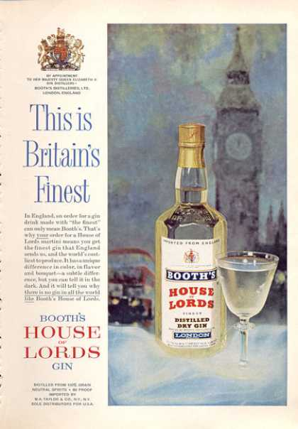 Botth's House of Lords Gin Bottle (1963)