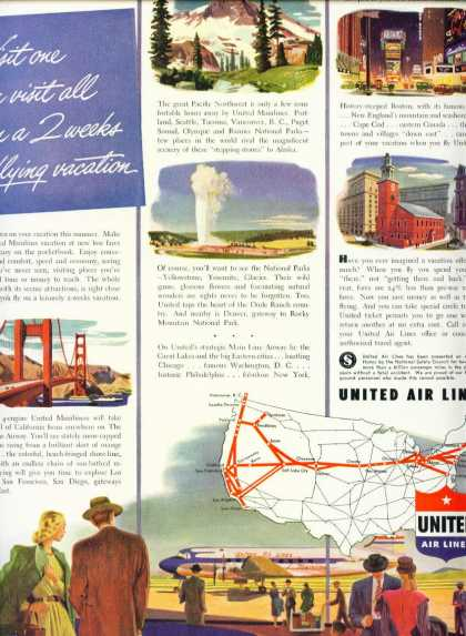 United Air Lines Flying Vacation Route Map C (1950)