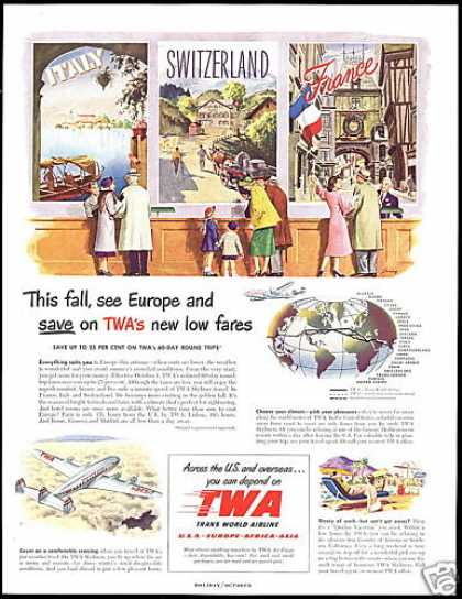 TWA Airlines Europe Italy France Switzerland (1949)