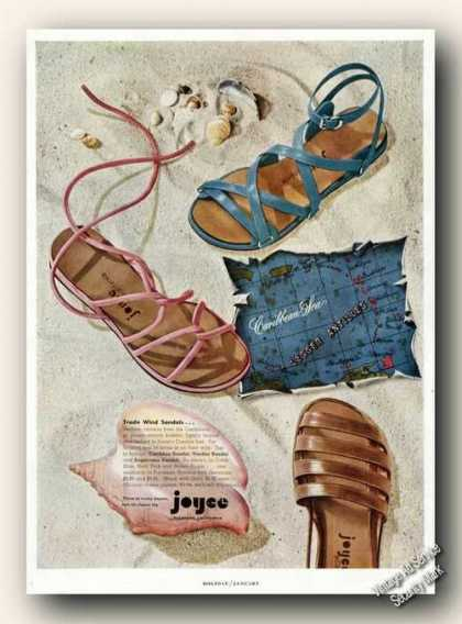 Joyce Rare Wind Sandals Carribean Theme (1950)