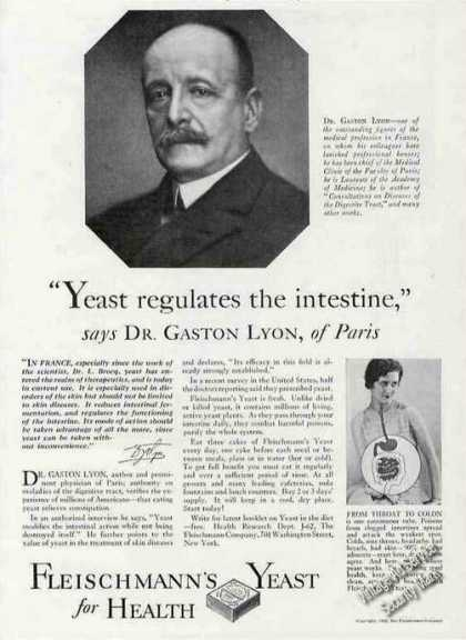 Fleischmann's Yeast for Health Dr. Gaston Lyon (1929)