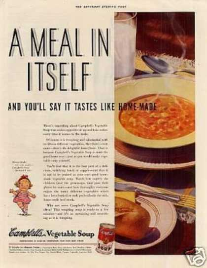 "Campbell's Vegetable Soup Ad ""A Meal In Itself... (1937)"