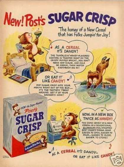 Post's Sugar Crisp Cereal Ad Bears (1951)
