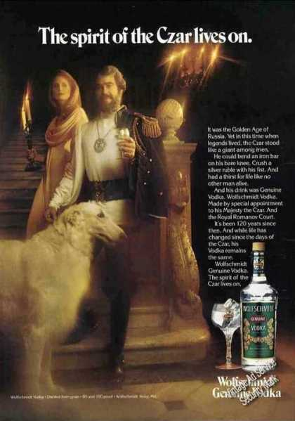 Russian Wolfhound Photo Wolfschmidt Vodka (1978)