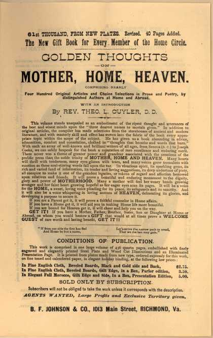 B. F. Johnson & Co.'s Golden Thoughts on Mother, Home, Heaven – Mother, Home, Heaven