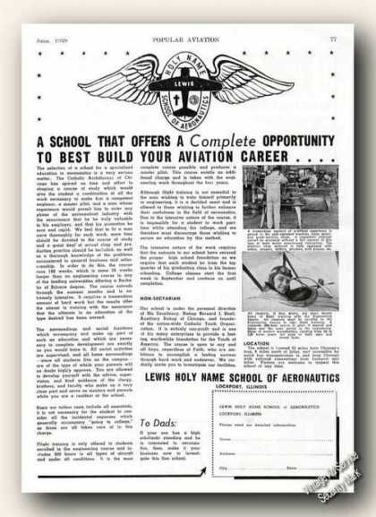 Lewis Holy Name School Aeronautics Lockport Il (1939)