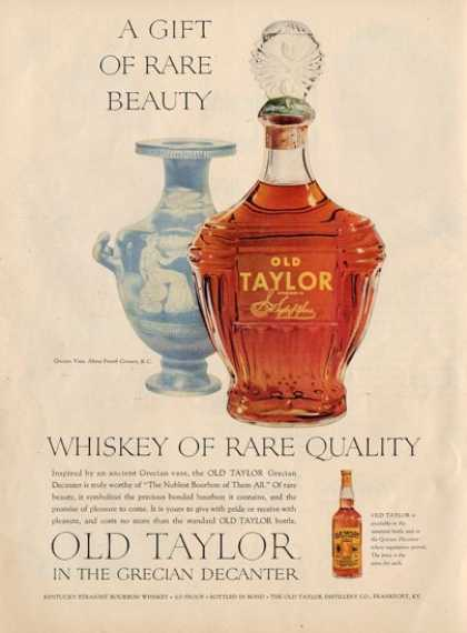 '53 Old Taylor Grecian Vase Whiskey Bottle Ad T (1953)