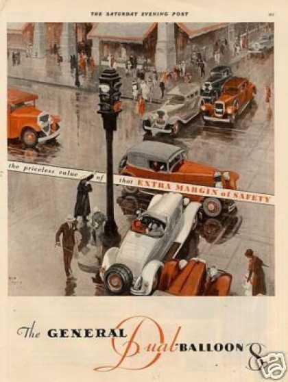 General Tire 2 Page Color Ad Fred Mizen Art (1930)