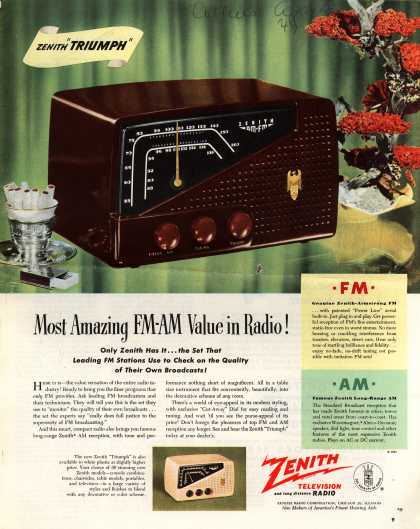 "Zenith Radio Corporation's ""Triumph"" model – Most Amazing FM-AM Value in Radio (1949)"