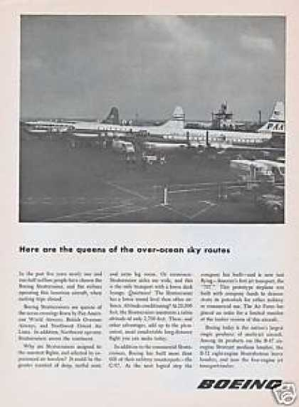 Queens Over Ocean Sky Boeing Airplanes (1954)