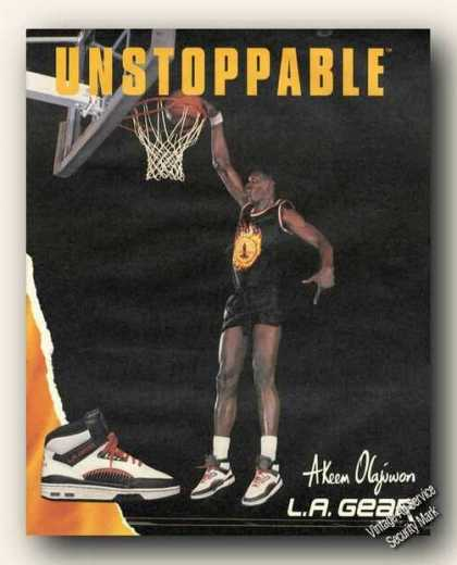 Akeem Olajuwon Photo La Gear Ad Basketball (1989)