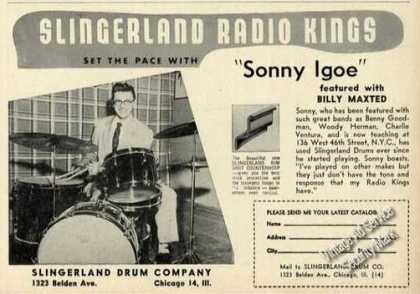 Sonny Igoe Photo Rare Slingerland Drums (1957)