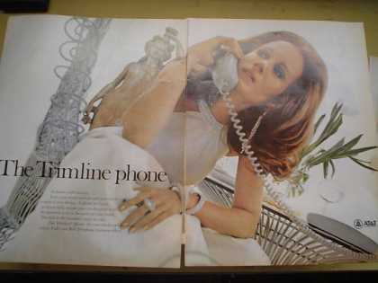 AT&T Trimline Phone Telephone Jeweled woman (1968)
