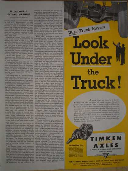 Timken Axles. Wise truck buyers look under the truck (1950)