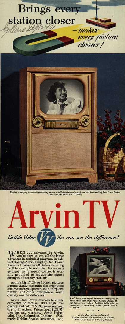 Arvin Industrie's Dual Power Televisions – Brings Every Station Closer – Makes Every Picture Clearer! Arvin TV. VV, Visible Value. You Can See the Difference (1951)