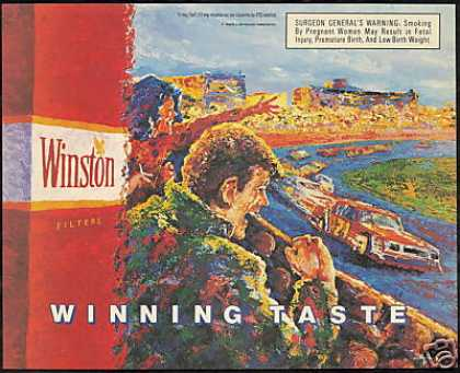 Car Race Track Winston Cigarette Print Art (1989)