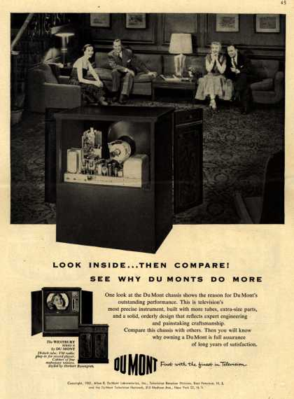 Allen B. DuMont Laboratorie's The DuMont Westbury Series II TV combination – Look Inside... Then Compare! See Why DuMonts Do More. (1951)