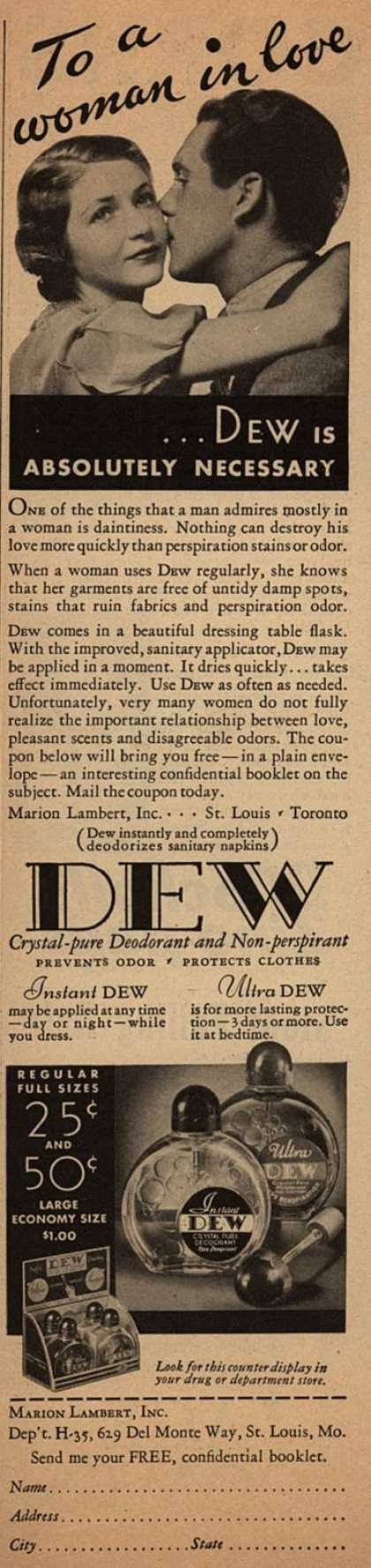 Marion Lambert's Dew Deodorant – To a woman in love ...Dew is absolutely necessary