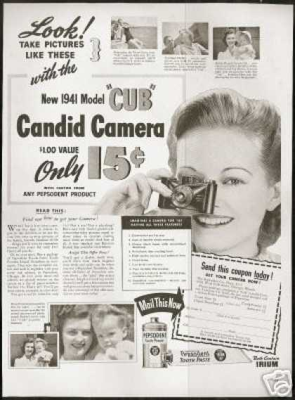 Cub Candid Camera Pepsodent Offer Photo Vintage (1941)