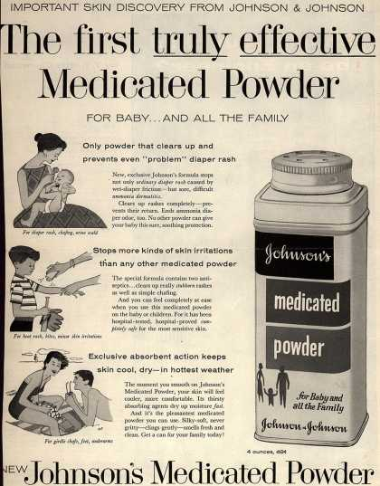 Johnson &amp; Johnson&#8217;s Johnson&#8217;s Medicated Powder &#8211; Important Skin Discovery From Johnson &amp; Johnson. The first truly effective Medicated Powder (1957)