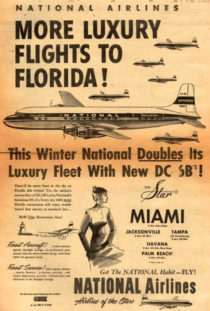 National Airline's Florida – MORE LUXURY FLIGHTS TO FLORIDA (1952)