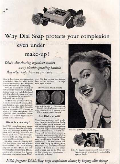 Dial's mild, fragrant soap that keeps complexions clearer by keeping skin cleaner (1953)