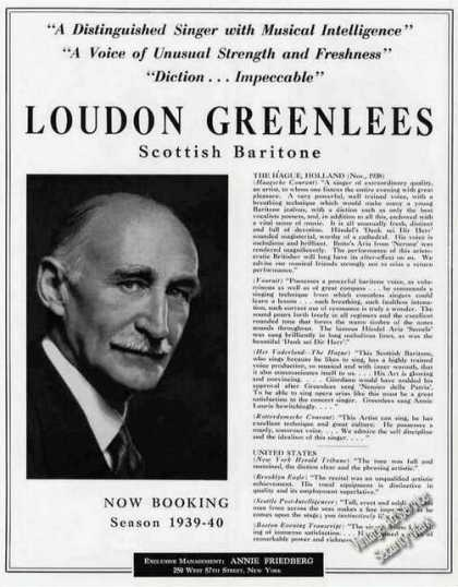 Loudon Greenlees Scottish Baritone Photo (1939)