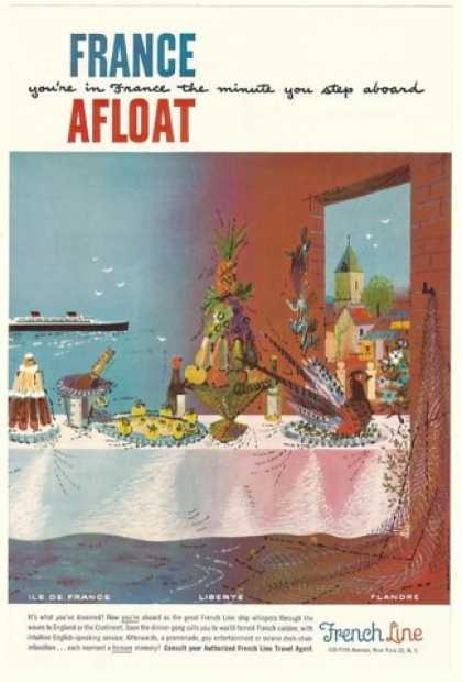 French Line Cruise Cuisine Table Dobignard art (1954)