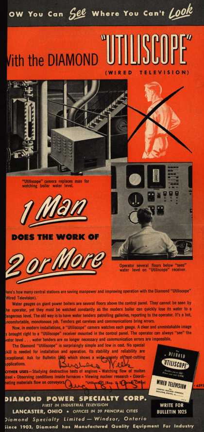 """Diamond Power Specialty Corporation's Utiliscope (Wired Television) – Now You Can See Where You Can't Look With the Diamond """"Utiliscope"""" (1951)"""