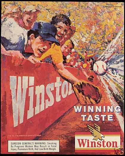 Baseball Game Glove Art Winston Cigarettes (1989)