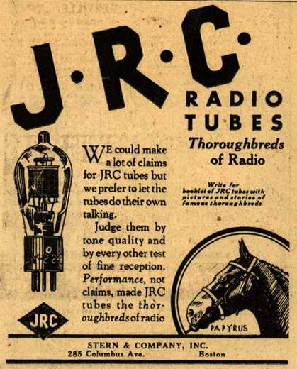 Johnsonburg Radio Corporation's Radio Tubes – J.R.C. Radio Tubes: Thoroughbreds of Radio (1930)