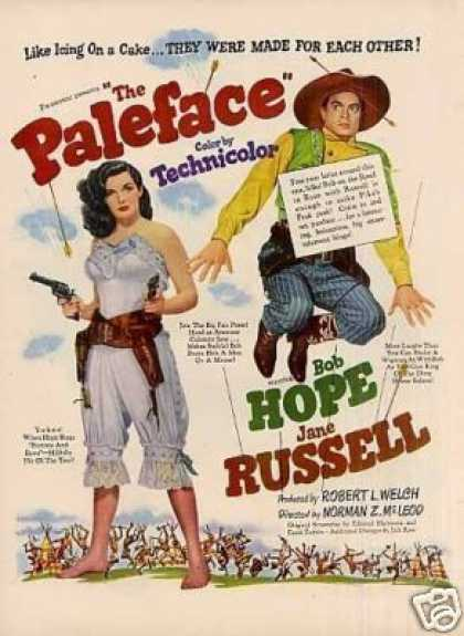 "Movie Ad ""The Paleface"" Bob Hope/jane Russell (1948)"