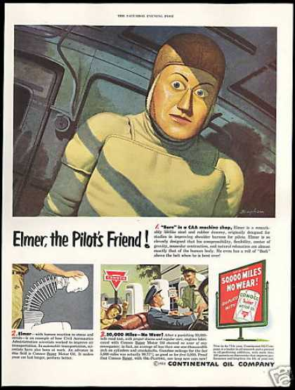Plane Pilot Test Dummy Bingham Art Conoco Oil (1952)