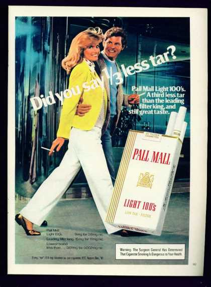 Pretty Woman Pall Mall Light 100s Cigarettes C (1982)