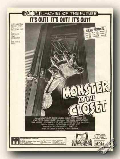 Monster In the Closet Movie Rare (1986)