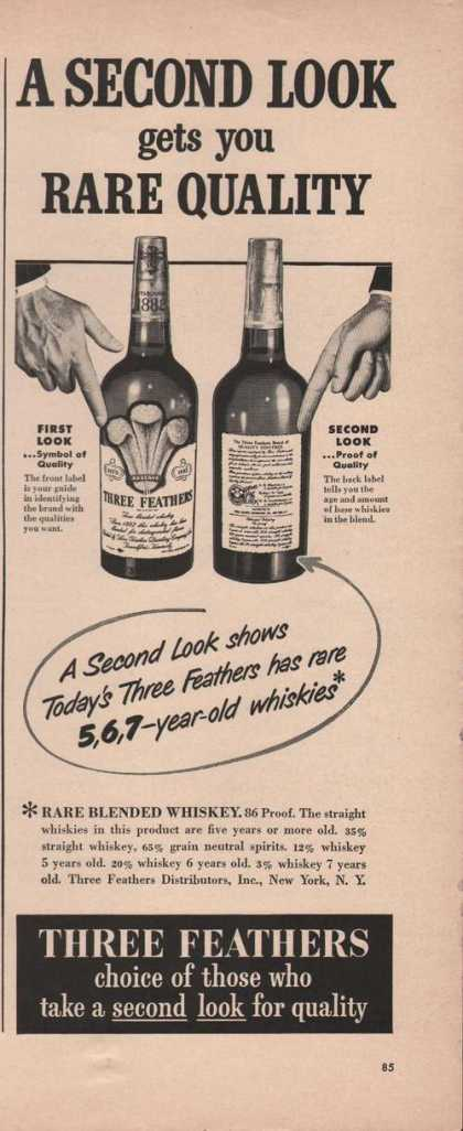 Rare Quality Three Feathers Whiskies (1949)