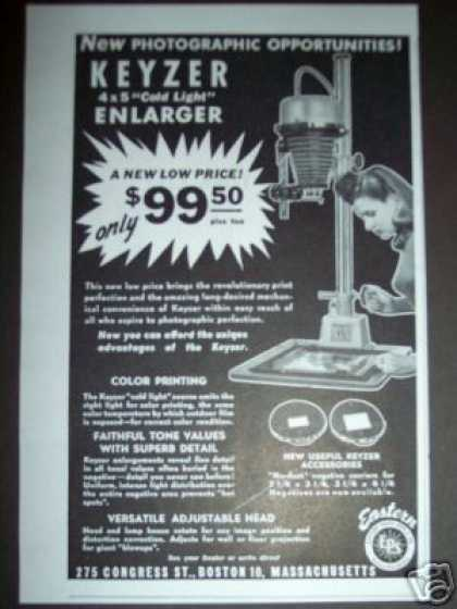 Original Keyzer Photo Enlarger Ad 4 X 5 (1947)