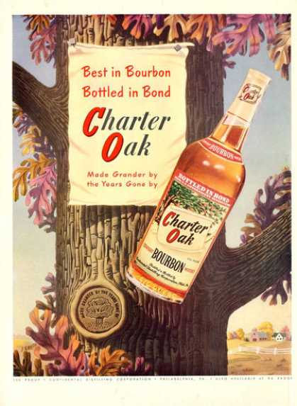 Charter Oak Bourbon Whisky Bottle (1950)