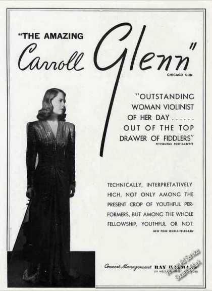 Carroll Glenn Photo Violinist Booking (1944)