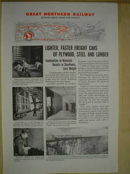 Great Northern Railway Lighter faster Freight cars of plywood (1944)