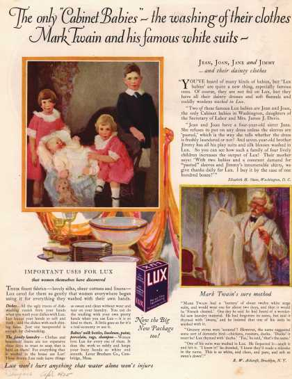 "Lever Bros.'s Lux (laundry flakes) – The only ""Cabinet Babies"" – the washing of their clothes – Mark Twain and his famous white suits (1925)"