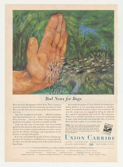Union Carbide Allethrin Insecticide Bugs Hand (1951)